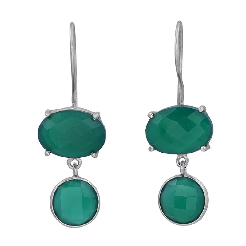 Green Onyx Oval Round Shape Gemstone 925 Sterling Silver Gold Plated Earrings