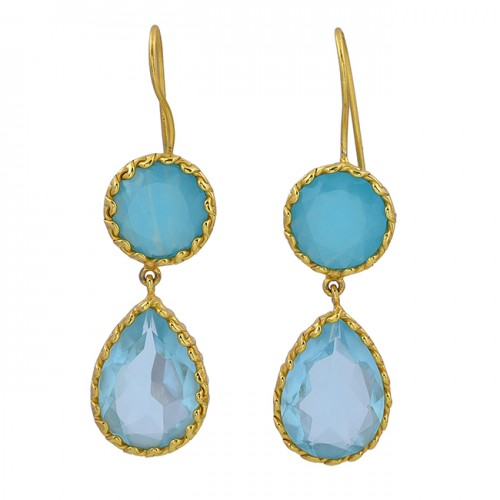 Aqua Chalcedony Blue Topaz Gemstone 925 Sterling Silver Gold Plated Earrings