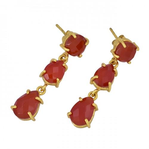 Carnelian Round Pear Shape Gemstone 925 Sterling Silver Gold Plated Stud Earrings