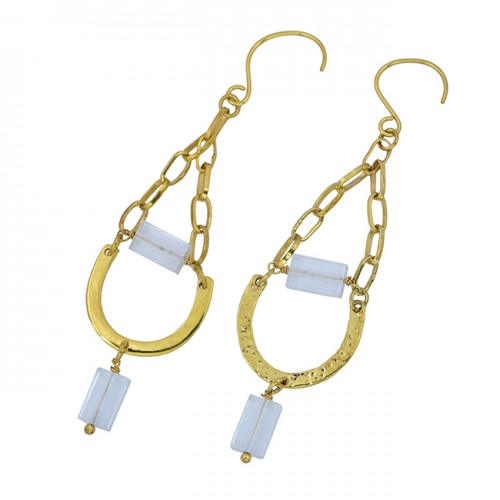 Rectangle Shape Crystal Gemstone 925 Sterling Silver Gold Plated Dangle Earrings