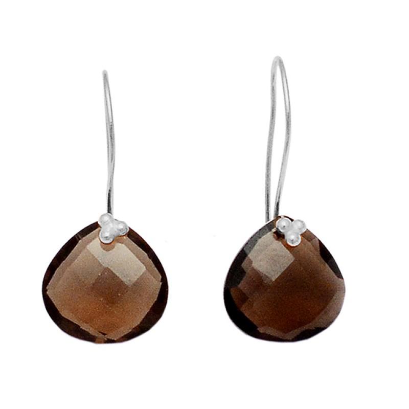 Briolette Heart Shape Smoky Quartz Gemstone 925 Sterling Silver Gold Plated Earrings