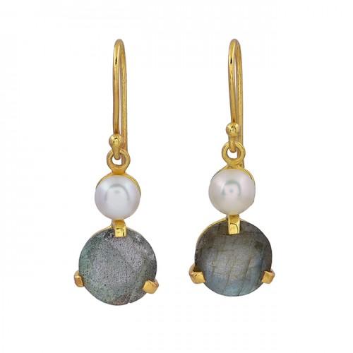 Pearl Labradorite Gemstone 925 Sterling Silver Gold Plated Dangle Earrings