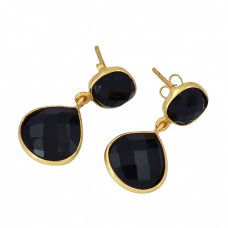 Black Onyx Square Pear Shape Gemstone 925 Sterling Silver Gold Plated Dangle Earrings
