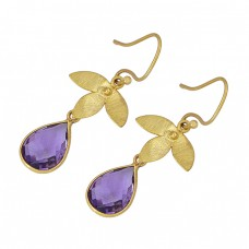Pear Shape Amethyst Gemstone 925 Sterling Silver Gold Plated Dangle Earrings