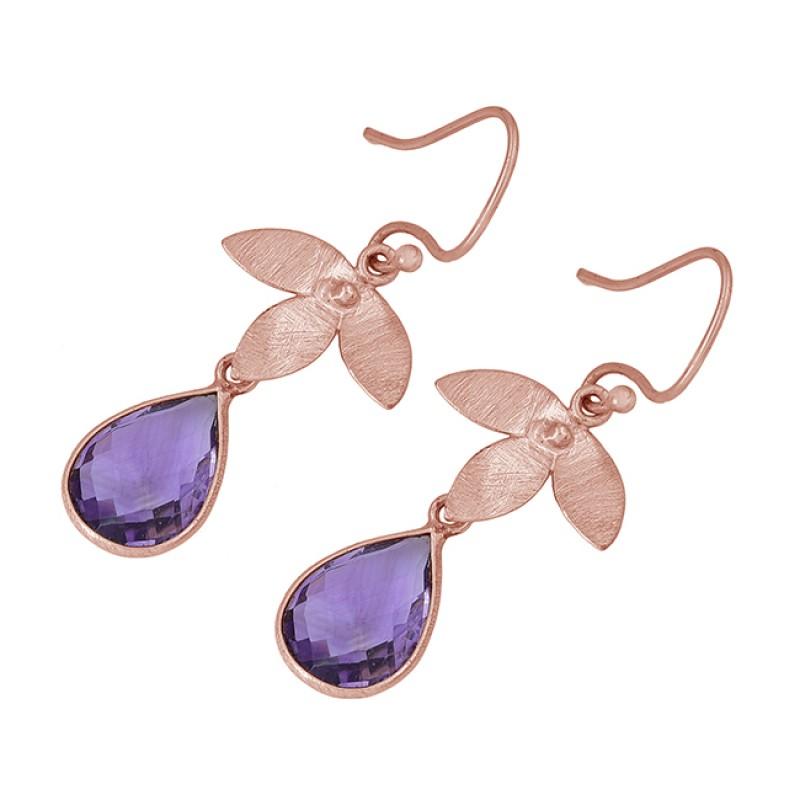 Pear Shape Amethyst Gemstone 925 Sterling Silver Gold Plated Dangle Earrings