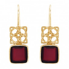 Square Shape Garnet Gemstone 925 Sterling Silver Gold Plated Fixed Ear Wire Earrings
