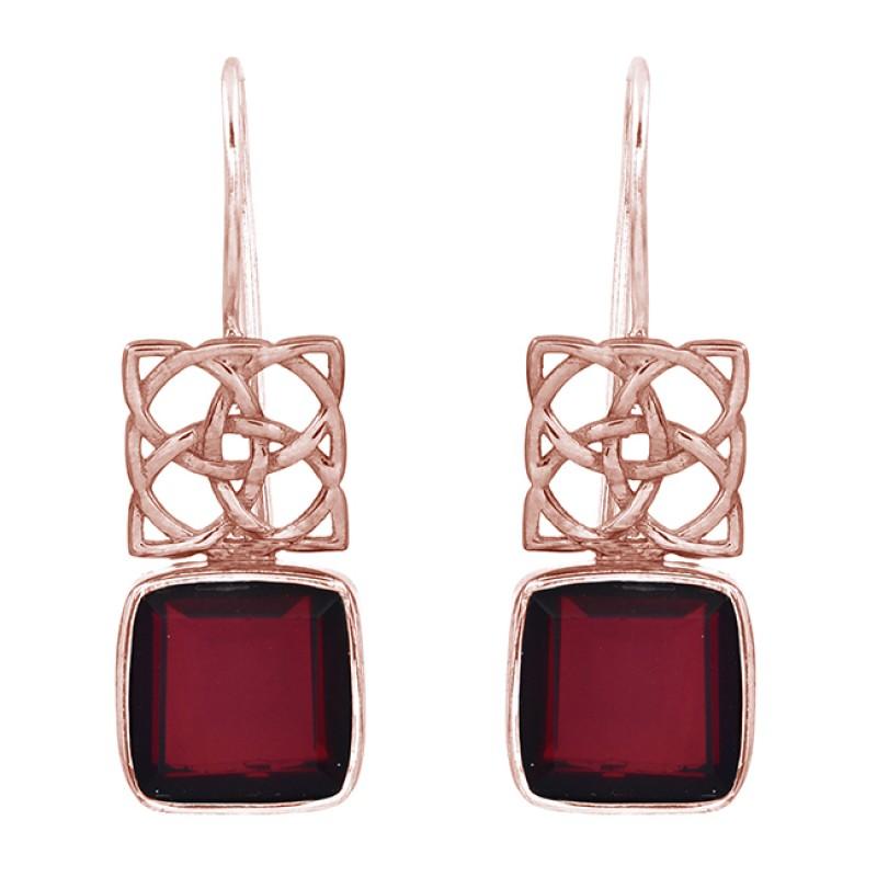 Square Shape Garnet Gemstone 925 Sterling Silver Gold Plated Fixed Ear Wire Earrings