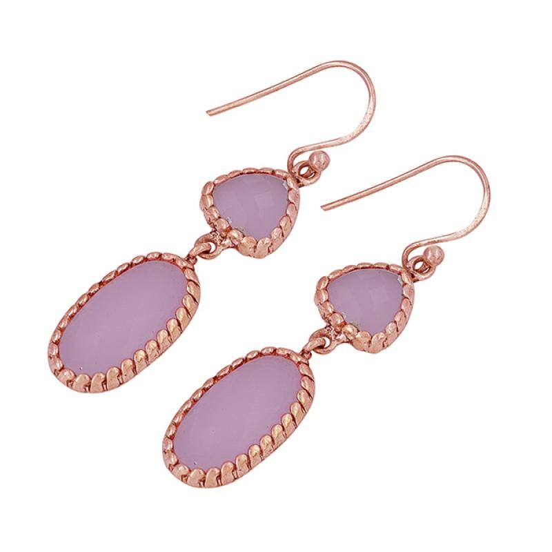 Rose Chalcedony Gemstone 925 Sterling Silver Handmade Designer Dangle Earrings