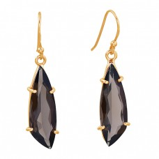 Smoky Quartz Fancy Shape Gemstone 925 Sterling Silver Prong Setting Earrings