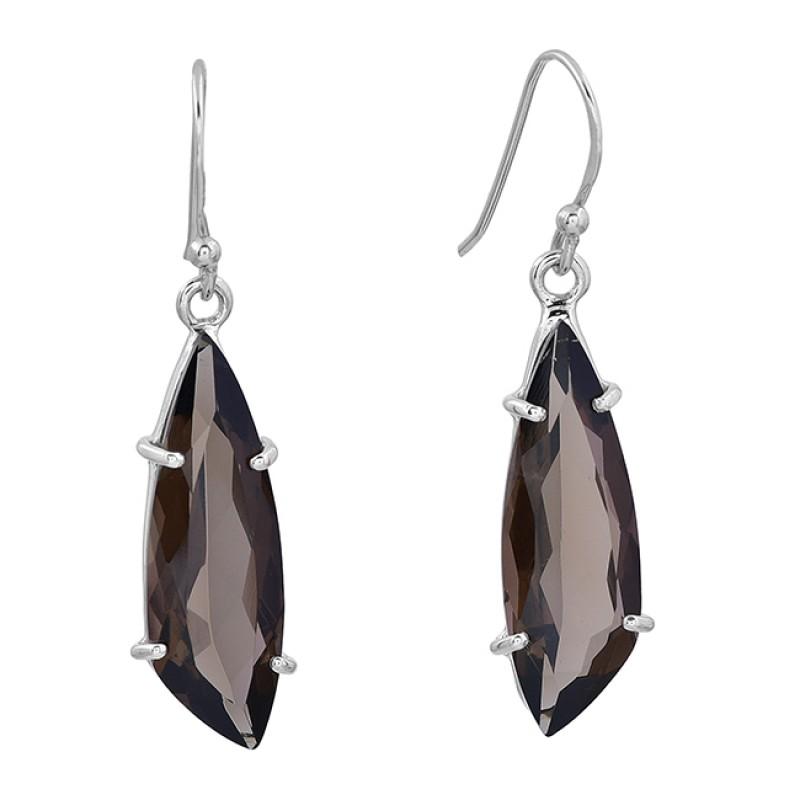 Smoky Quartz Fancy Shape Gemstone 925 Sterling Silver Prong Setting Earrings