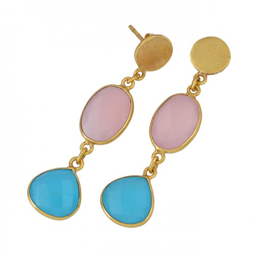 Oval Hearts Shape Chalcedony Gemstone 925 Sterling Silver Gold Plated Stud Earrings