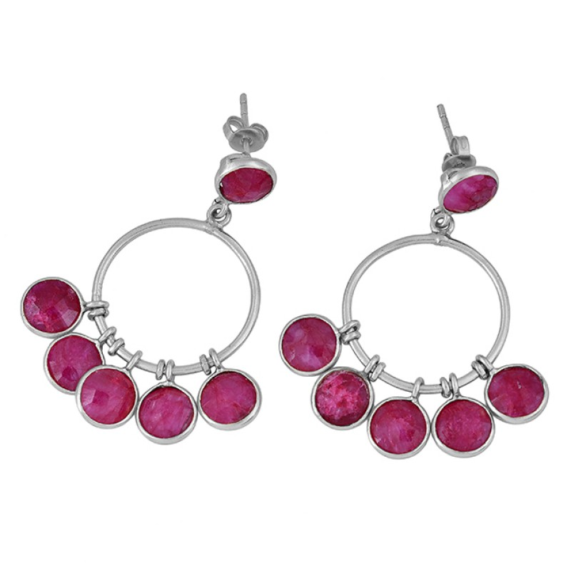 Ruby Round Shape Gemstone 925 Sterling Silver Gold Plated Stud Dangle Earrings
