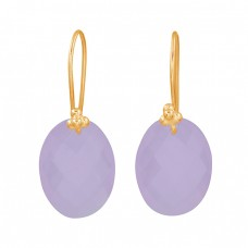Oval Shape Rose Chalcedony Gemstone 925 Sterling Silver Fixed Ear Wire Earrinigs