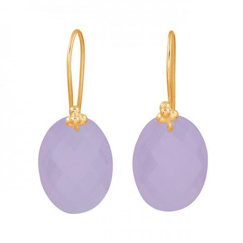 Oval Shape Rose Chalcedony Gemstone 925 Sterling Silver Fixed Ear Wire Earrinigs