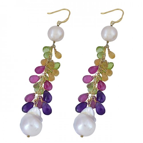 Pearl Multi Color Gemstone 925 Sterling Silver Gold Plated Dangle Earrings