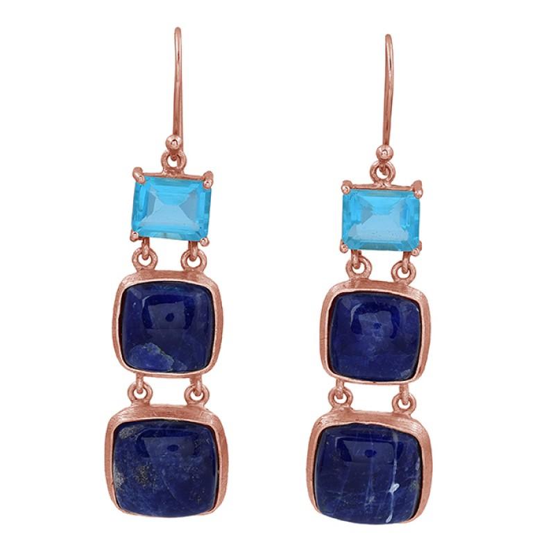Blue Topaz Sodolite Gemstone 925 Sterling Silver Gold Plated Dangle Earrings