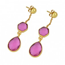 Pink Quartz Gemstone 925 Sterling Silver Gold Plated Stud Dangle Earrings