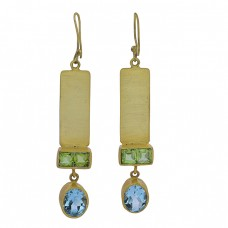 Peridot Blue Topaz Gemstone 925 Sterling Silver Gold Plated Dangle Earrings