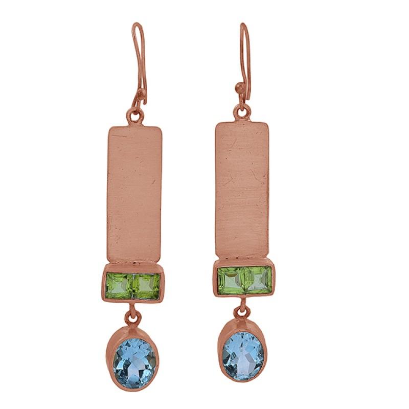 Peridot Blue Topaz Gemstone 925 Sterling Silver Gold Plated Dangle Earrings