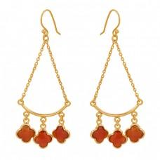 Flower Shape Carnelian Gemstone 925 Sterling Silver Gold Plated Dangle Earrings