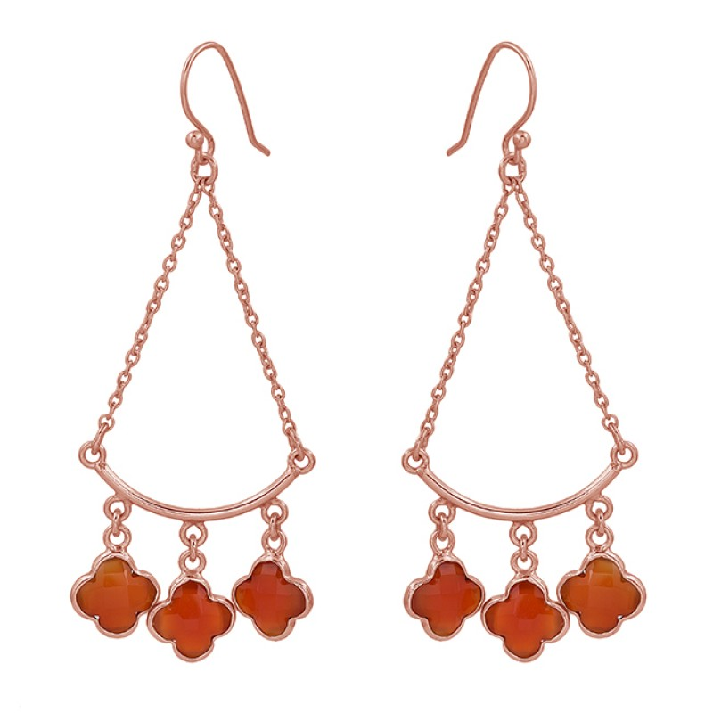 Flower Shape Carnelian Gemstone 925 Sterling Silver Gold Plated Dangle Earrings