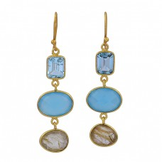 Topaz Chalcedony Golden Rutile Quartz Gemstone 925 Silver Gold Plated Earrings