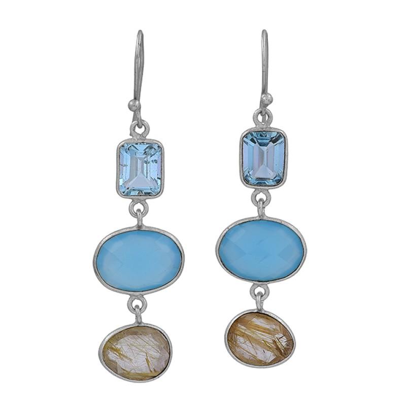 Topaz Chalcedony Golden Rutile Quartz Gemstone 925 Silver Gold Plated Earrings