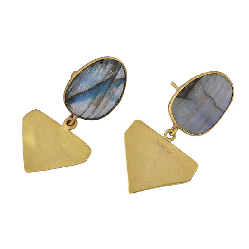925 silver gold-plated stud earrings with labradorite