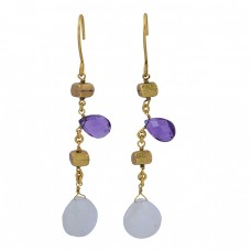 Amethyst Rainbow Moonstone Pear Shape Gemstone 925 Silver Gold Plated Earrings