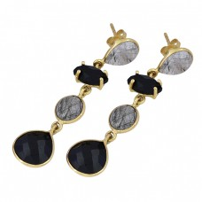 925 Sterling Silver Black Onyx Rutile Quartz Gemstone Gold Plated Dangle Earrings