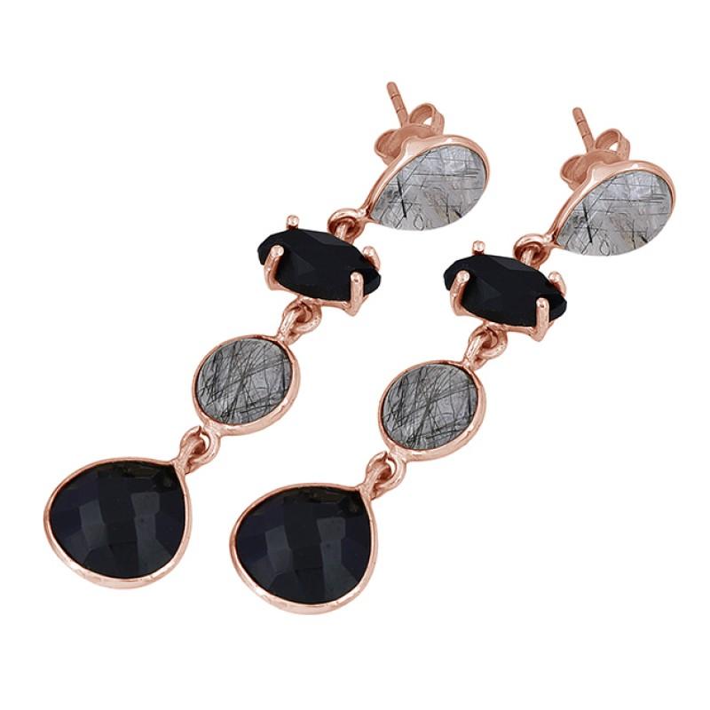 925 Sterling Silver Black Onyx Rutile Quartz Gemstone Gold Plated Dangle Earrings