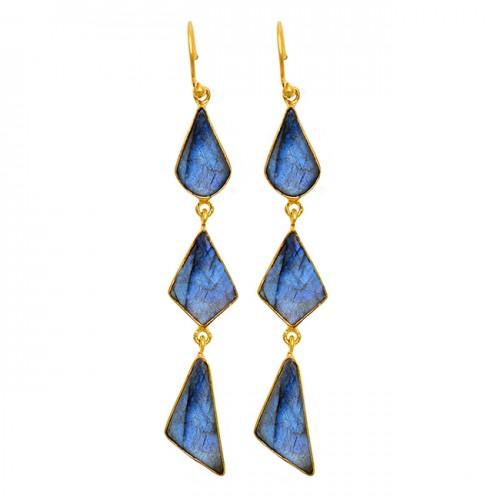 Labradorite Gemstone 925 Sterling Silver Gold Plated Dangle Earrings Jewelry