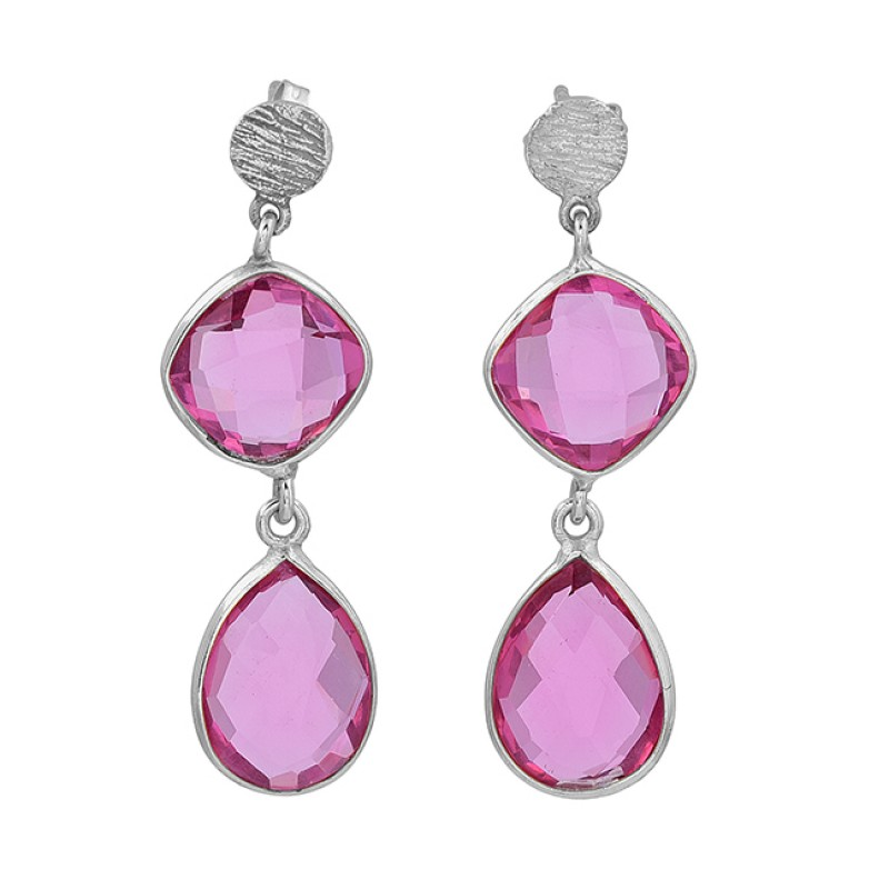 925 Sterling Silver Pink Quartz Cushion Pear Shape Gemstone Gold Plated Stud Earrings