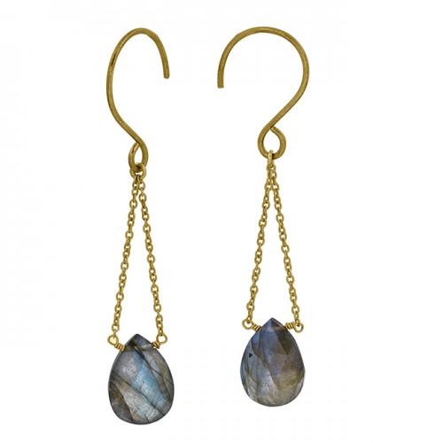 Pear Shape Labradorite Gemstone 925 Sterling Silver Gold Plated Chain Dangle Earrings