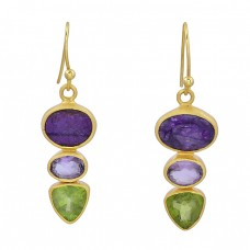 925 Sterling Silver Peridot Amethyst Gemstone Gold Plated Dangle Earrings