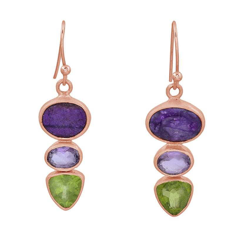 925 Sterling Silver Peridot Amethyst Gemstone Gold Plated Dangle Earrings
