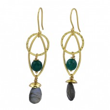 Green Onyx Labradorite Gemstone 925 Sterling Silver Gold Plated Dangle Earrings
