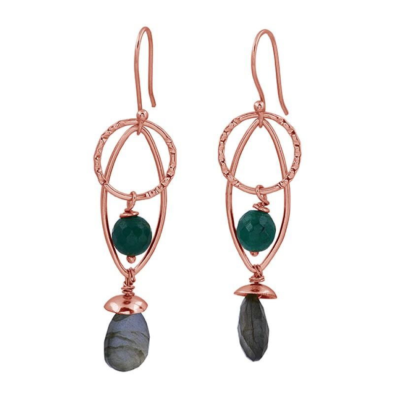 Green Onyx Labradorite Gemstone 925 Sterling Silver Gold Plated Dangle Earrings