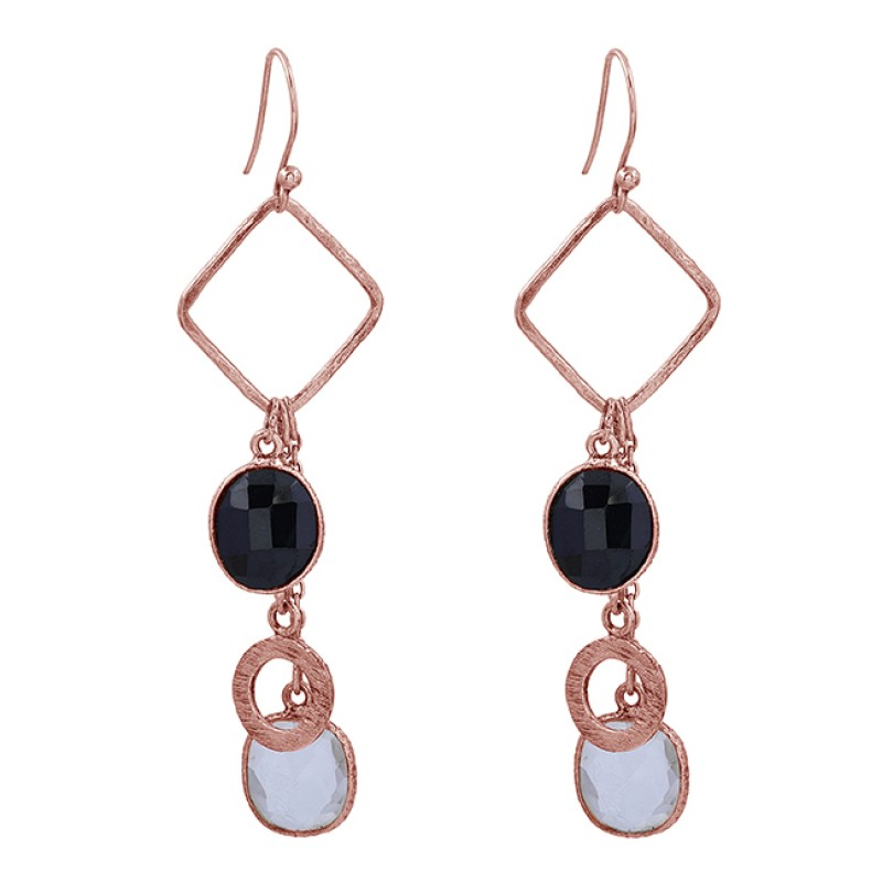 Black Onyx Crystal Quartz Gemstone 925 Sterling Silver Handmade Designer Earrings
