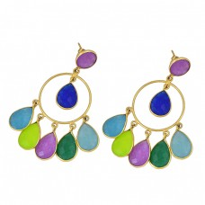 Pear Round Shape Multi Color Gemstone 925 Sterling Silver Gold Plated Stud Earrings