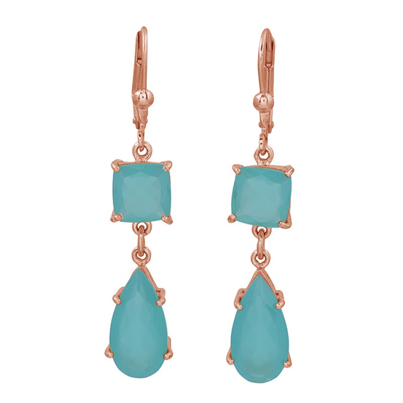 Pear Square Shape Chalcedony Gemstone 925 Sterling Silver Gold Plated Earrings
