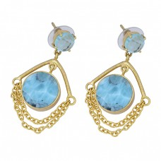 Blue Topaz Larimar Gemstone 925 Sterling Silver Gold Plated Stud Dangle Earrings