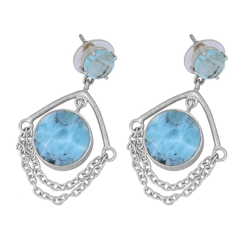 Blue Topaz Larimar Gemstone 925 Sterling Silver Gold Plated Stud Dangle Earrings