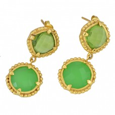 Peridot Chalcedony Gemstone 925 Sterling Silver Gold Plated Stud Dangle Earrings