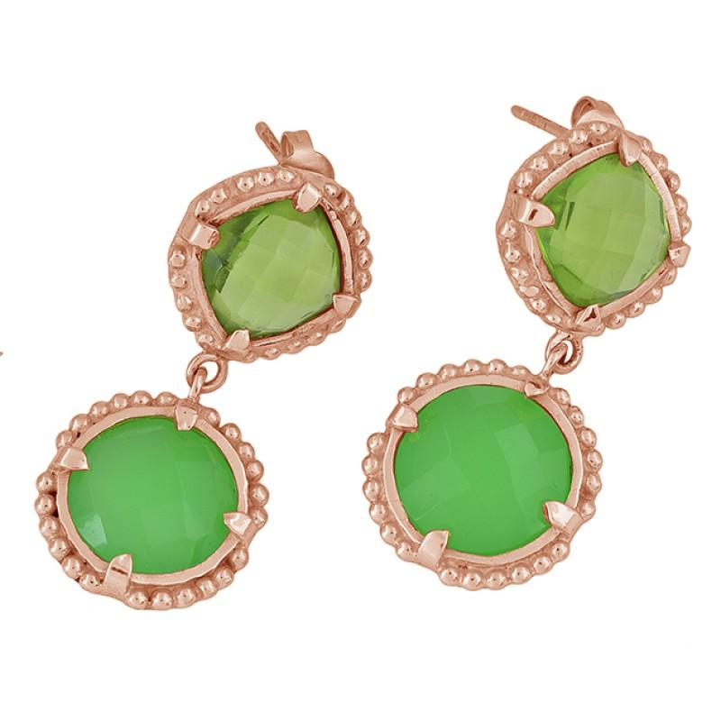 Peridot Chalcedony Gemstone 925 Sterling Silver Gold Plated Stud Dangle Earrings