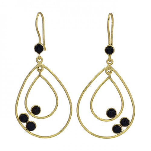 Round Shape Black Onyx Gemstone 925 Sterling Silver Gold Plated Dangle Earrings