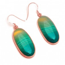 Oval Cabochon Botswana Agate Gemstone 925 Sterling Silver Bezel Setting Dangle Earrings