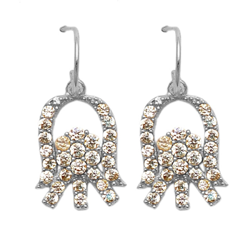 Pave Cubic Zirconia Gemstone 925 Sterling Silver Gold Plated Dangle Earrings