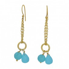 Aqua Chalcedony Gemstone 925 Sterling Silver Gold Plated Chain Dangle Earrings