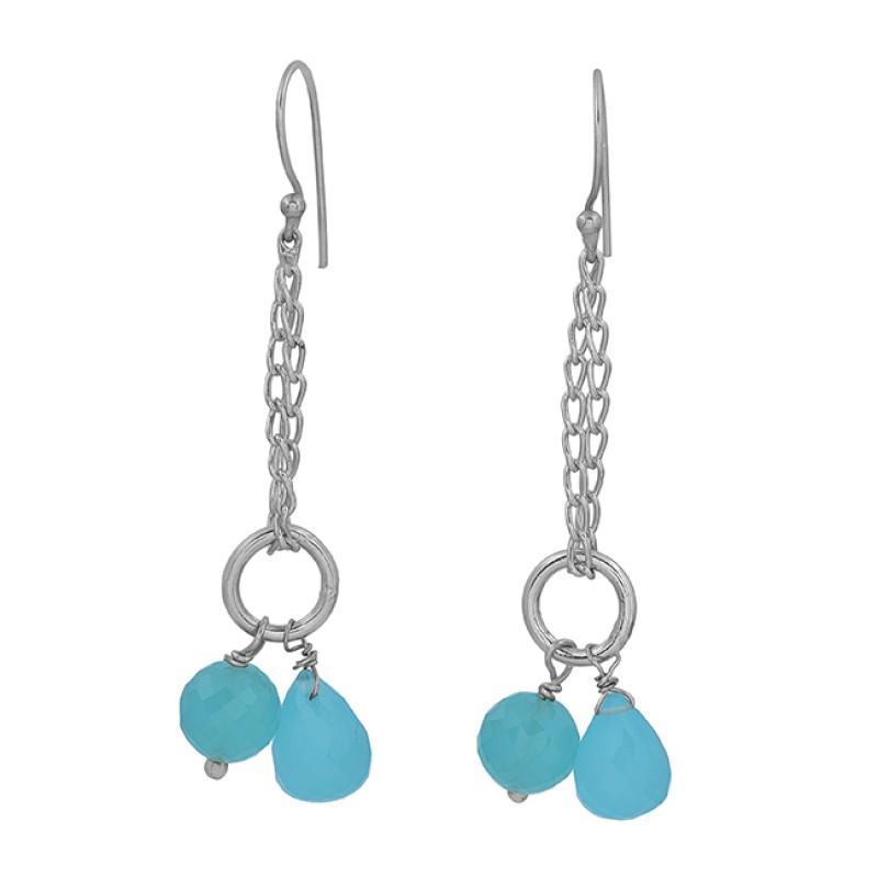 Aqua Chalcedony Gemstone 925 Sterling Silver Gold Plated Chain Dangle Earrings